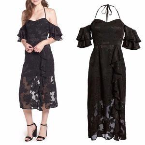 WAYF Casper Midi Dress Black Floral Cold Shoulder